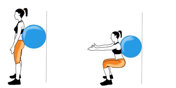 Vježba čučanj s pilates loptom